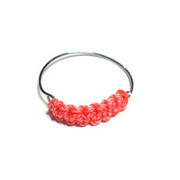 Simple dainty coral cobra woven friendship ring - coral cord string silver plated wire helloberry free people inspired