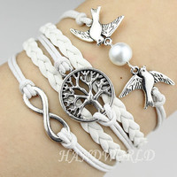 Charm Bracelet Silvery Karma Bracelet Tree of life Bracelet Lover Birds Bracelet Pearl Jewelry Bracelet-N1134