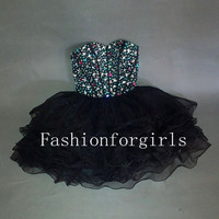 2013 Charming Sweetheart Mini Strapless Short Prom Dresses