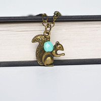 Squirrel Charm Pendant Necklace, Mint Czech Glass Bead Jewelry, Woodland Creature, Cute Spring Squirrel Necklace Canadian Jewelry