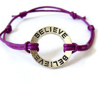 "Purple ""Believe"" Affirmation Bracelet"