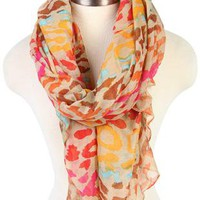bright multi color leopard print scarf - debshops.com