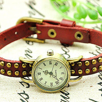 Vintage Style Wine Leather Bracelet Watch, Rivet Bracelet Watch Handmade Women's Watch, Everyday Bracelet  PB0163