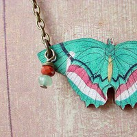 Butterfly Necklace in Bright Teal Green Moth by MySelvagedLife