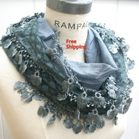 Grey Lace Scarf   Women Fashion Scarfs FREE SHIPPING  Dim Grey Lace Scarf Trendy Spring  Fashion Neckwarmer  - By PIYOYO