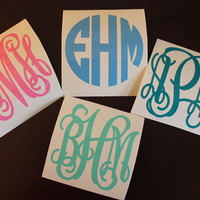 "SINGLE 2"" Vinyl Personalized Monogram Decal Stickers"
