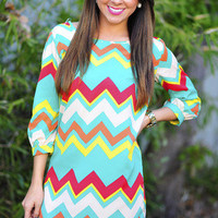 For The Love Of Chevron Shift Dress: Cockatoo | Hope&#x27;s