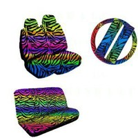 New Premium Grade 11 Pieces Rainbow Zebra Print Low Back Front with Headrest and Rear Seat Covers Set with Steering Wheel Cover, Seat Belt Covers : Amazon.com : Automotive