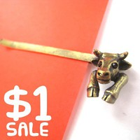 ONE DOLLAR SALE - Cow Bull Animal Hair Bobby Pin Clip Accessory