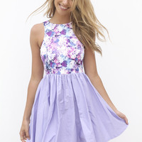 Purple&amp;Pink Floral Dress with Lilac Skirt&amp;Cutout Back Detail