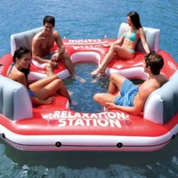 Pacific Paradise Relaxation Station Water Lounge 4-Person River Tube Raft