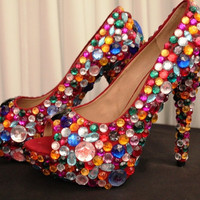 Super SALE,High Heel Crystal  Beads Rainbow  Rhinestone Peep toe Platform Shoes, size 9 US / 39 European / 6 UK