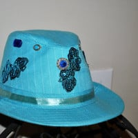 Womens Hat-Fedora Style Hat-Stylish Headwear-Blue-Hand Decorated-Spring/Summer Wear-Embillished-Boho-Eclectic