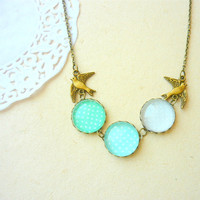 Vintage Style Polka Dots Mint Swallows Necklace  by kellyatlarge