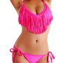 Cloris Murphy Sexy Fringed TASSEL Pink Triangle Bikini Halter Top &amp; Bottom Swimwear Bathing Suit BN912PK M &amp; L size Pink: Clothing