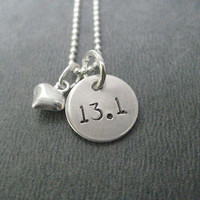 13.1 - LOVE 13.1 - 16 inch Half Marathon Sterling Silver with Puffed Heart - 13.1 Running Necklace on 16 inch Sterling Silver Ball chain