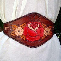 $130.00 Desert RoseHand Tooled Floral Leather Belt by ContrivedtoCharm