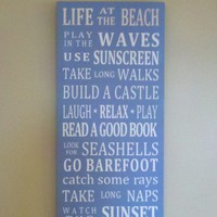 Beach Rules Life At The Beach Word Art Wood Sign | SignsofElegance - Housewares on ArtFire