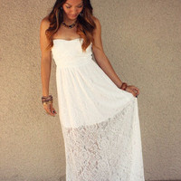 'Willow' Lace Sweetheart Maxi Dress