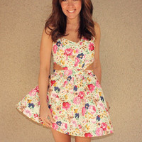 Tea Party Floral Cutout Dress