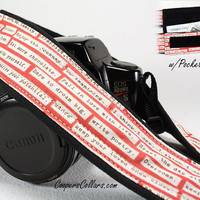 Camera Strap with Pocket, dSLR, Rosebud Happy Thoughts, Inspirational, SLR