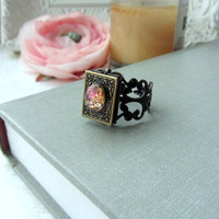 A Vintage Fire Opal Cab Book Locket Ring Filigree by Marolsha