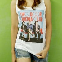 Two Door Cinema Club Irish Indie Band Top 10 Billboard - Womens Tank Top Printed White T Shirt Pop Rock Singer Fan Light and Soft