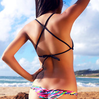 "Neon Graffiti ""Kai"" Super Cheeky Thin Side Bikini Bottoms"