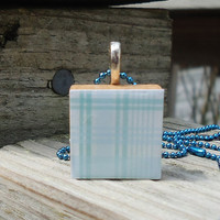 Blue Plaid Scrabble Style Pendant
