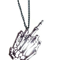 Skeleton Hand &#x27;FU&#x27; Necklace black and white by DeathwishDesign
