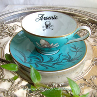 Aqua Blue and Gold Arsenic Gothic Poison Teacup and Saucer Antique Tea Cup altered china Chase and Scout