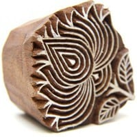 Lotus Flower Indian Wooden Block Stamp Hand Carved for Henna designs | catfluff - Craft Supplies on ArtFire