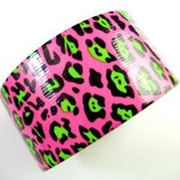 New Craft Duck Duct Tape &quot;Pink Lime Green Black Cheetah Print&quot; 10 Yards - Amazon.com