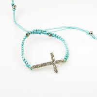 Blue Cross Adjustable Bracelet