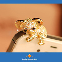 1PC Bling Crystal Cute Koala Bear Earphone Charm Cap Anti Dust Plug for iPhone 5, iPhone 4, Samsung S3,Samsung S4