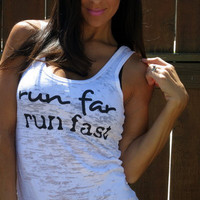 Run Far Run Fast. Burnout Workout Tank Size MEDIUM