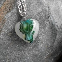 Green Agate Druzy Geode Heart Pendant Necklace | JabberJewels - Jewelry on ArtFire