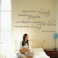 "Marilyn Monroe Quote Decor ~ Imperfection is beauty ~ Vinyl Lettering Wall Decal Sticker Girls Dorm Bedroom Art Wall Tatoo Decor Girl`s Birthday Gift Hotel mural - 31"" Black: Home & Kitchen"