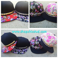 Studded Hat Snapback - Floral Print - Gold OR Silver OR Black Studs