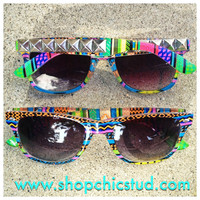Studded Sunglasses- Neon Tribal- Silver  or Black or Gold Studs