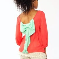 two-tone-bow-accent-blouse CORALMINT MINTLVDR WHITEBLACK - GoJane.com