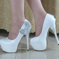Pretty Crystal Bows Princess Prom Stiletto High Heels Wedding shoes