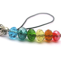 Rainbow phone charm rainbow bead cell phone charm by Mandyscharms
