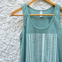 White Aztec Pattern on Light Green Tank Top