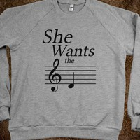 She Wants the D (Crew Neck Sweatshirt)-Heather Grey Sweatshirt