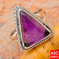 AMETHYST 925 STERLING SILVER RING SIZE 6 1/2 JEWELRY