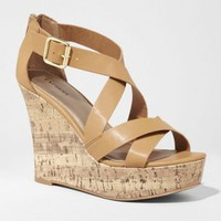 CRISSCROSS STRAP CORK WEDGE SANDAL
