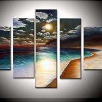 Amazon.com: 100% Hand-painted Free Shipping Wood Framed on the Back Artwork the Yellow Beach High Q. Wall Decor Landscape Oil Painting on Canvas 5pcs/set Mixorde: Home & Kitchen