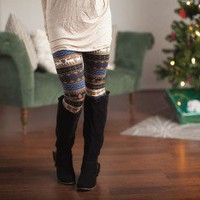 Prancer Reindeer Leggings Taupe