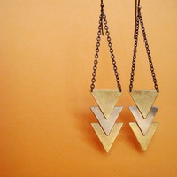 Triple arrow/ chevron earrings, two tone- brass and nickle silver, geometric triangles